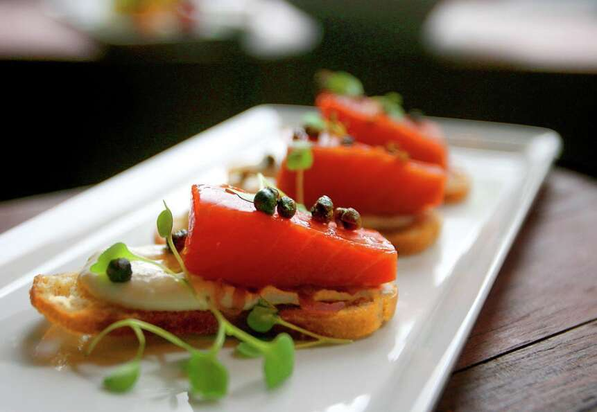 Smoked salmon crostini at the Spur Gastropub in Belltown.