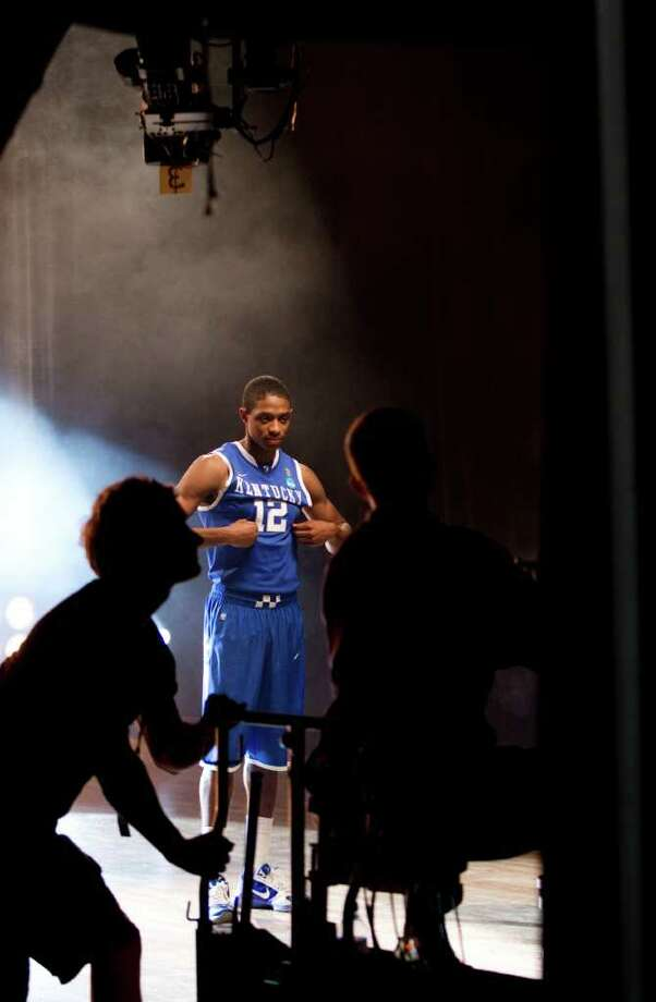 Kentucky guard Brandon Knight (12) poses for a television promotional spot for the Final Four at Reliant Stadium Thursday, March 31, 2011, in Houston. ( Brett Coomer / Houston Chronicle ) Photo: Brett Coomer, Houston Chronicle / Houston Chronicle for the Connecticut Post
