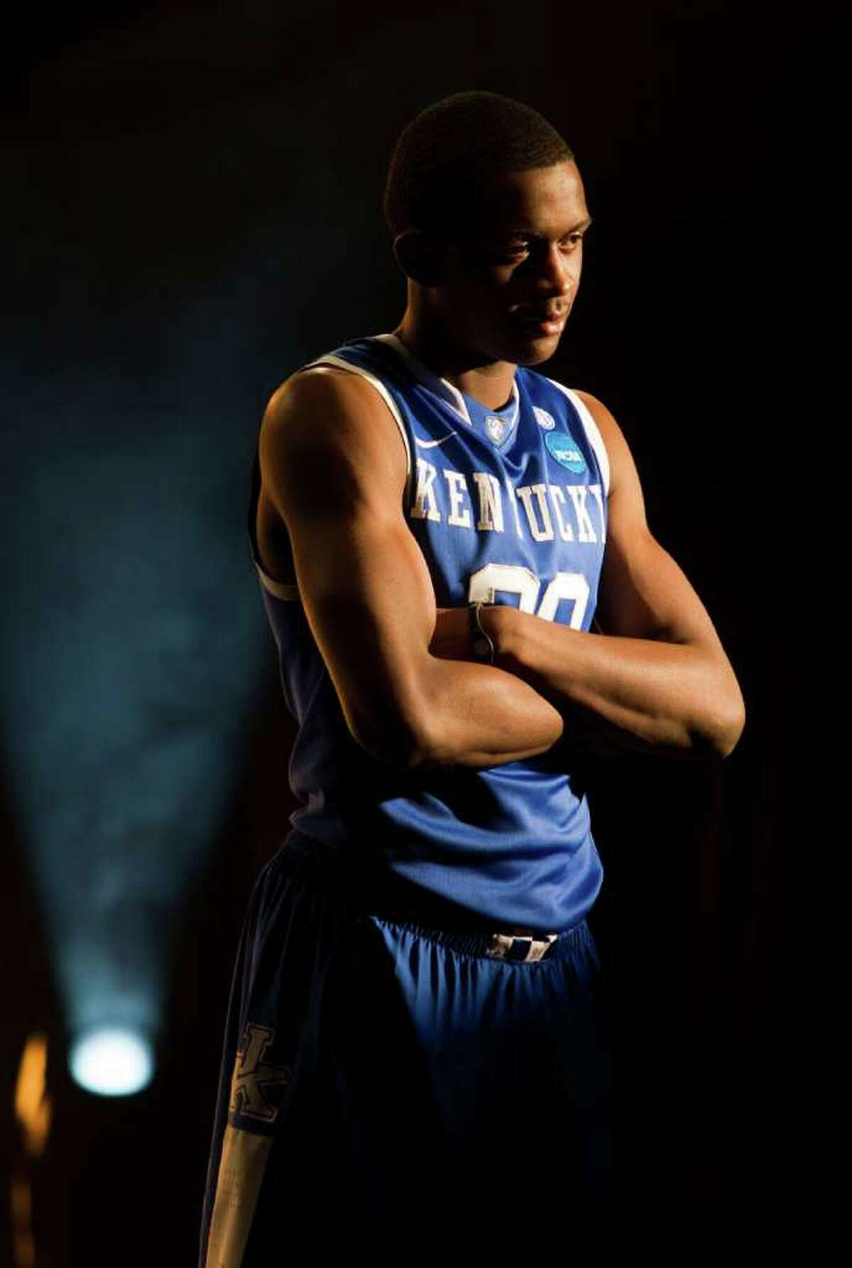 Kentucky guard Doron Lamb (20) poses for a television promotional spot for the Final Four at Reliant Stadium Thursday, March 31, 2011, in Houston. ( Brett Coomer / Houston Chronicle )