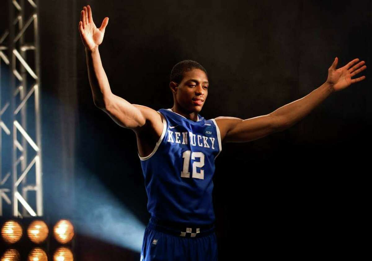 Kentucky guard Brandon Knight (12) poses for a television promotional spot for the Final Four at Reliant Stadium Thursday, March 31, 2011, in Houston. ( Brett Coomer / Houston Chronicle )