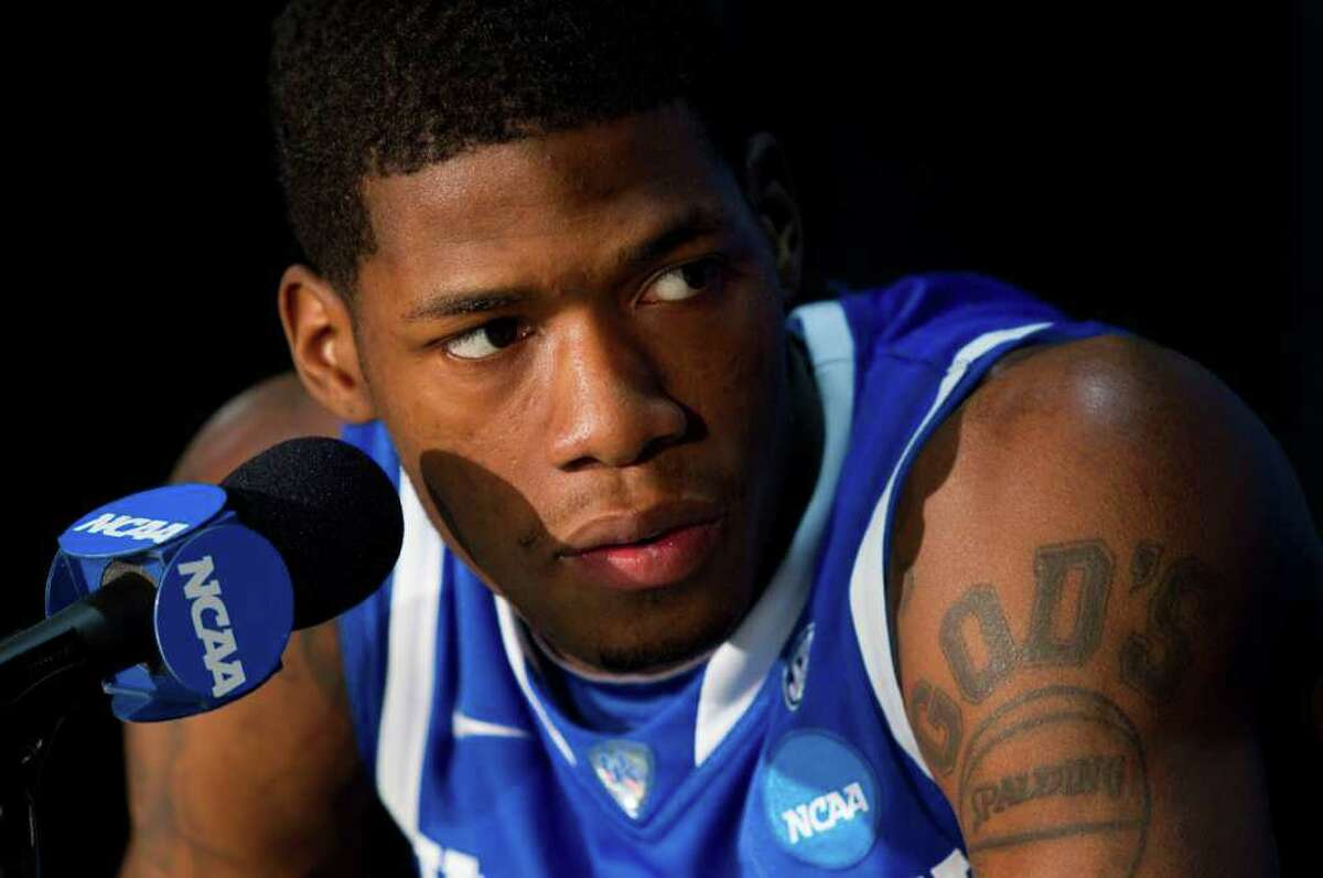 Kentucky guard DeAndre Liggins listens to a question during a Final Four news conference at Reliant Stadium Thursday, March 31, 2011, in Houston. ( Brett Coomer / Houston Chronicle )