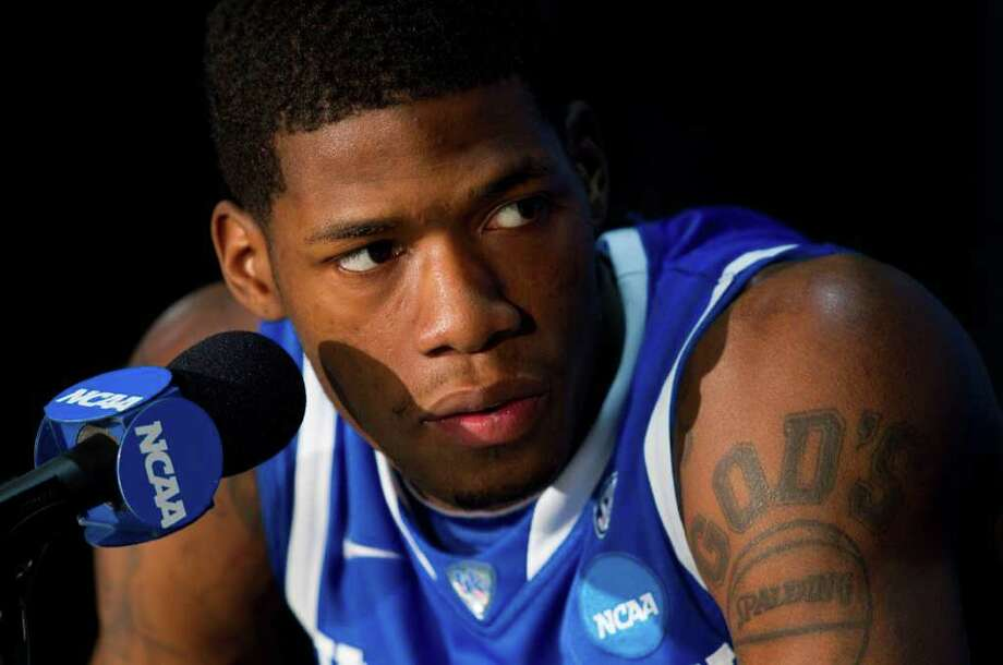 Kentucky guard DeAndre Liggins listens to a question during a Final Four news conference at Reliant Stadium Thursday, March 31, 2011, in Houston. ( Brett Coomer / Houston Chronicle ) Photo: Brett Coomer, Houston Chronicle / Houston Chronicle for the Connecticut Post