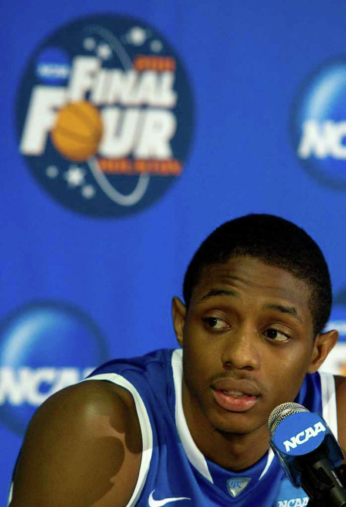Kentucky guard Brandon Knight (12) answers a question during a Final Four news conference at Reliant Stadium Thursday, March 31, 2011, in Houston. ( Brett Coomer / Houston Chronicle )
