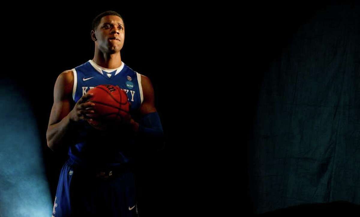 Kentucky forward Terrence Jones poses during a television promotional video shoot for the Final Four at Reliant Stadium Thursday, March 31, 2011, in Houston. ( Brett Coomer / Houston Chronicle )
