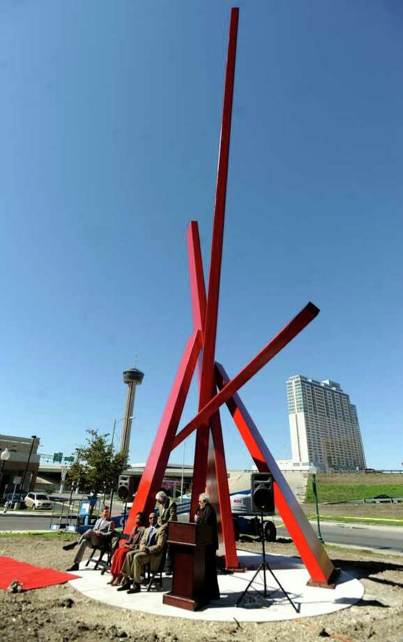 The award for best public art installation went to The Star Pointer sculpture at Ellis Alley. Photo: BILLY CALZADA, SAN ANTONIO EXPRESS-NEWS / gcalzada@express-news.net