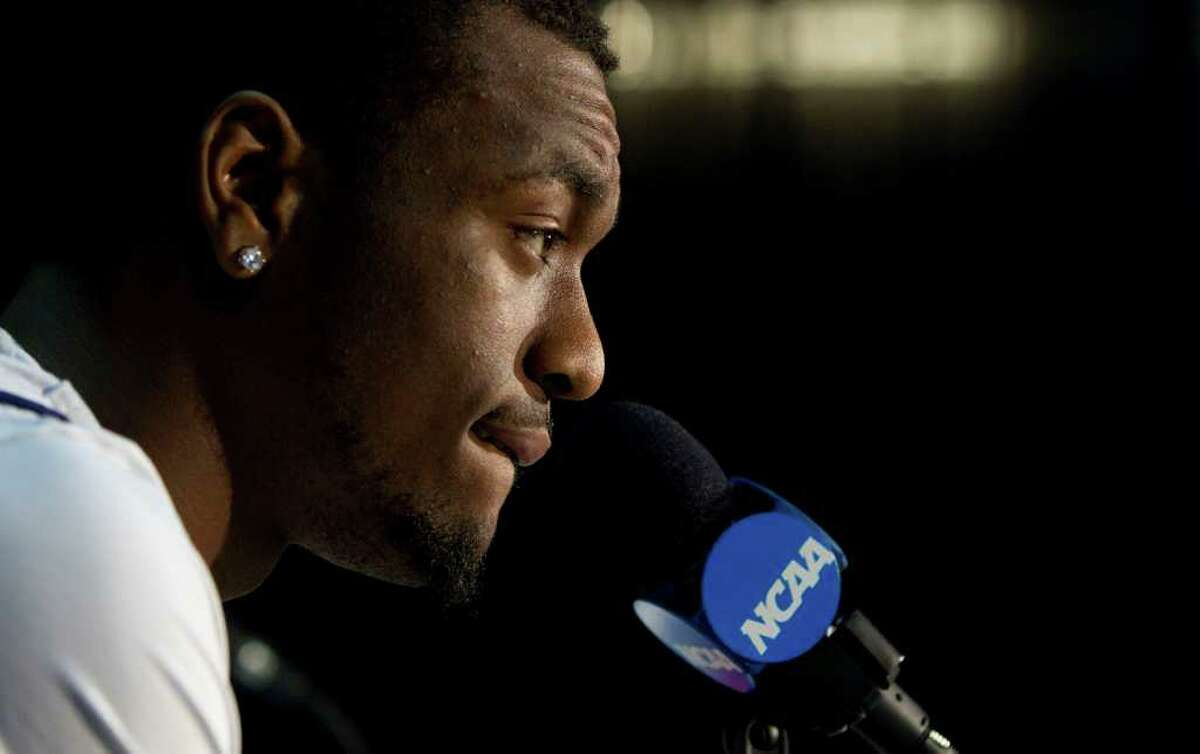 Connecticut guard Kemba Walker during a news conference at Reliant Stadium Thursday, March 31, 2011, in Houston. ( Brett Coomer / Houston Chronicle )