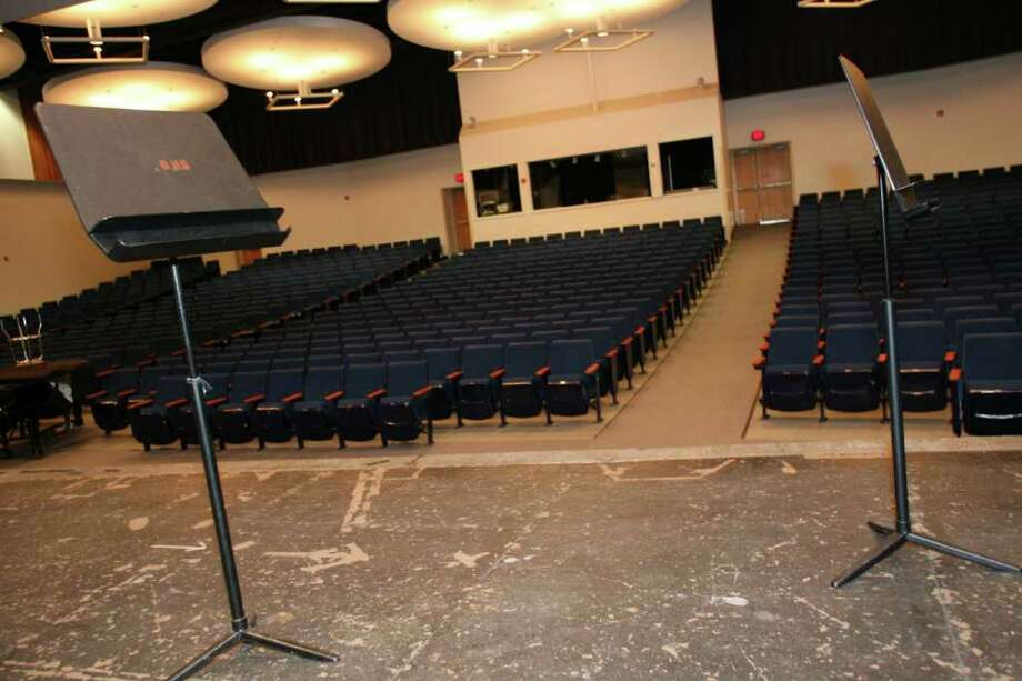 The Greenwich High School auditorium as seen from the stage Wednesday, March 23, 2011.  Photo by David Ames. Photo: David Ames, Greenwich Time / Greenwich Time Freelance