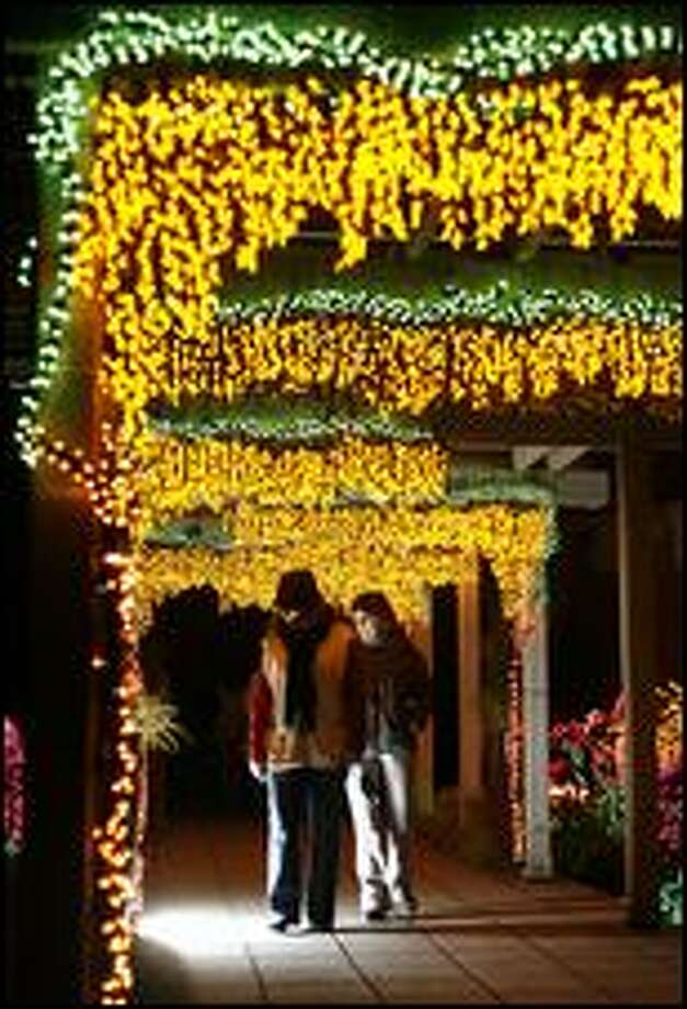 "Visitors stroll beneath trellises covered in lights at ""Garden d'Lights"" at the Bellevue Botanical Gardens in Bellevue Dec. 4, 2008. (Mike Urban / Seattle P-I)"