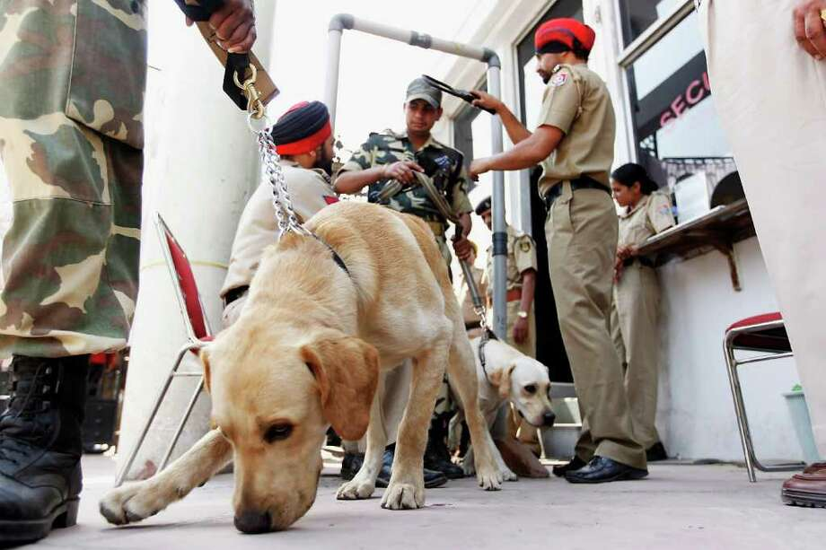 MOHALI, INDIA - MARCH 29:  Indian security forces and their dogs are security checked as they turn up to work at the Punjab Cricket Association Ground on March 29, 2011 in Mohali, India. India will play Pakistan in the ICC World Cup Semi-Final on Wednesday. Photo: Daniel Berehulak, Getty Images / 2011 Getty Images
