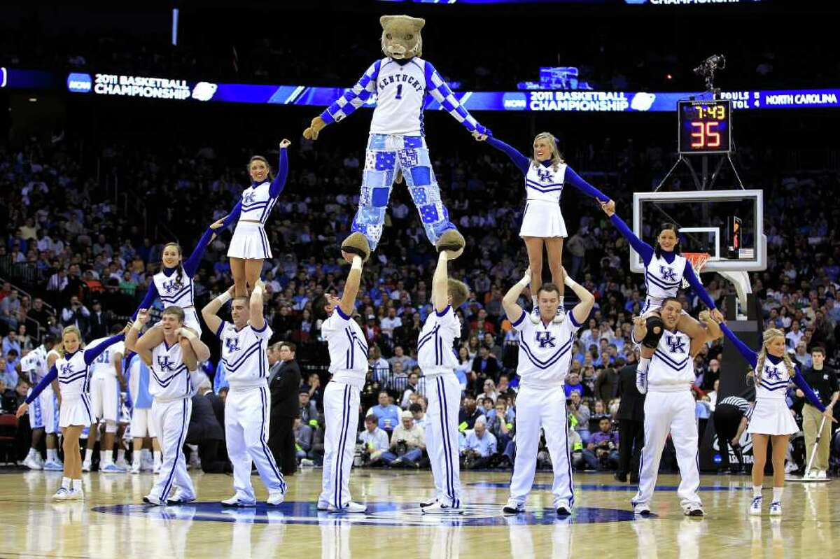 Cheerleaders of the Kentucky Wildcats perform during their game against the North Carolina Tar Heels in the east regional final of the 2011 NCAA men's basketball tournament at Prudential Center on March 27, 2011 in Newark, New Jersey.
