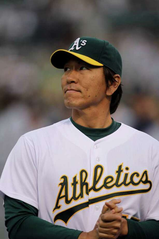 Oakland Athletics' Hideki Matsui, of Japan, stands on the field as he is introduced prior to the baseball game against the Seattle Mariners Friday, April 1, 2011, in Oakland, Calif. Photo: AP