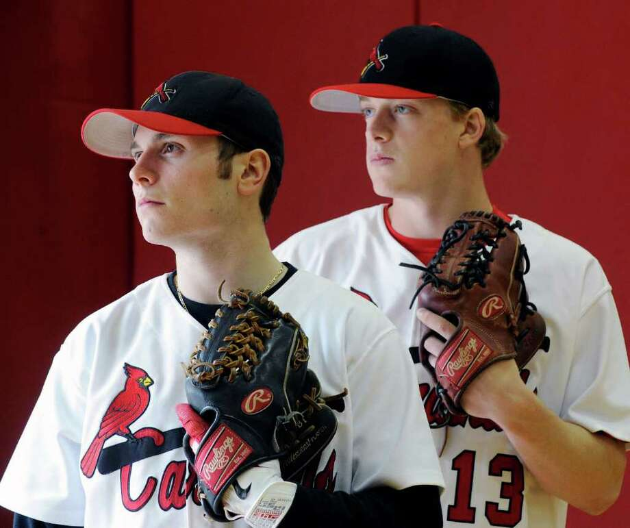Greenwich High School varsity baseball captains Louis Pulitano, left, and Brian Hoff, posed at Greenwich High School, Friday night, April 1, 2011. Photo: Bob Luckey / Greenwich Time