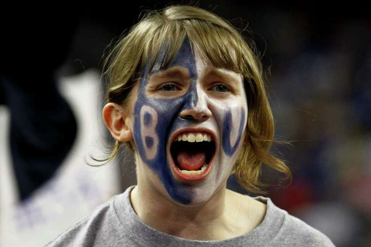 A Butler fan erupts as Butler beat VCU 70-62 during the Semifinal matchup of the NCAA Final Four basketball game at Reliant Stadium Saturday, April 2, 2011, in Houston. ( Michael Paulsen / Houston Chronicle )