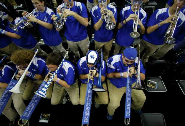 The Kentucky pep band plays before Kentucky played Connecticut in the NCAA National Semifinals at Reliant Stadium on Saturday, April 2, 2011, in Houston.  ( Nick de la Torre / Houston Chronicle ) Photo: Nick De La Torre, Houston Chronicle For The Connecticut Post / Houston Chronicle for the Connecticut Post