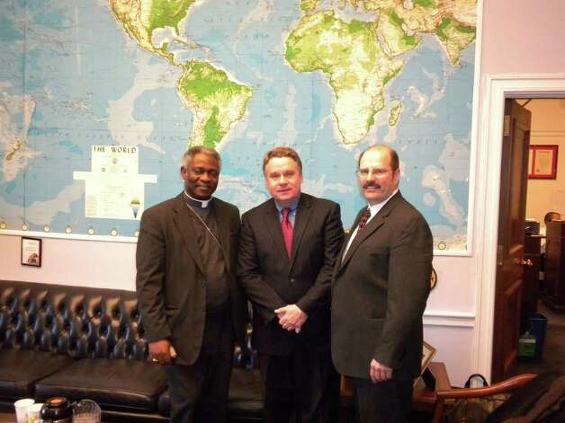 Dr. Joseph Marotta with Congressman Chris Smith and Cardinal Peter Turkson at the Congressman's office on Capitol Hill in March 2011. (Courtesy of Dr. Joseph Marotta)