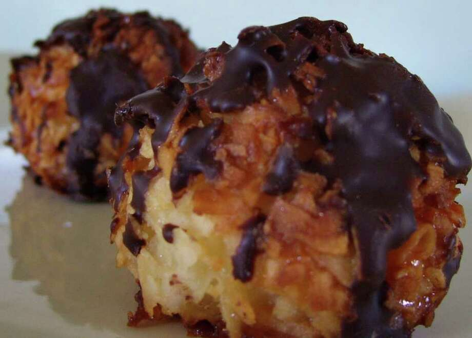 Dark chocolate enhances a coconut macaroon from Garelick & Herbs in Westport. Photo: Contributed Photo/Patti Woods / Westport News contributed
