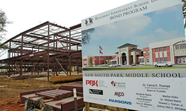 A view of the new South Park middle school as seen from the intersection of Highland Avenue and Virginia street.   April 2, 2010, was the day crowds stood in tears and in awe as an excavator tore through the old South Park school. It was just one part in the battle the Beaumont Independent School District has been involved in about the building. The fight started several months before demolition and still continues today as the construction of the new South Park school goes on.    Dave Ryan/The Enterprise Photo: Dave Ryan / Beaumont