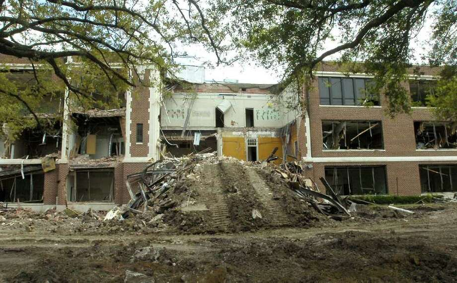 The Ambush Demolition excavator did it's job as the whole facade on the South Park Middle School building is now gone. Demolition of the building began on Good Friday.  Dave Ryan/The Enterprise / Beaumont