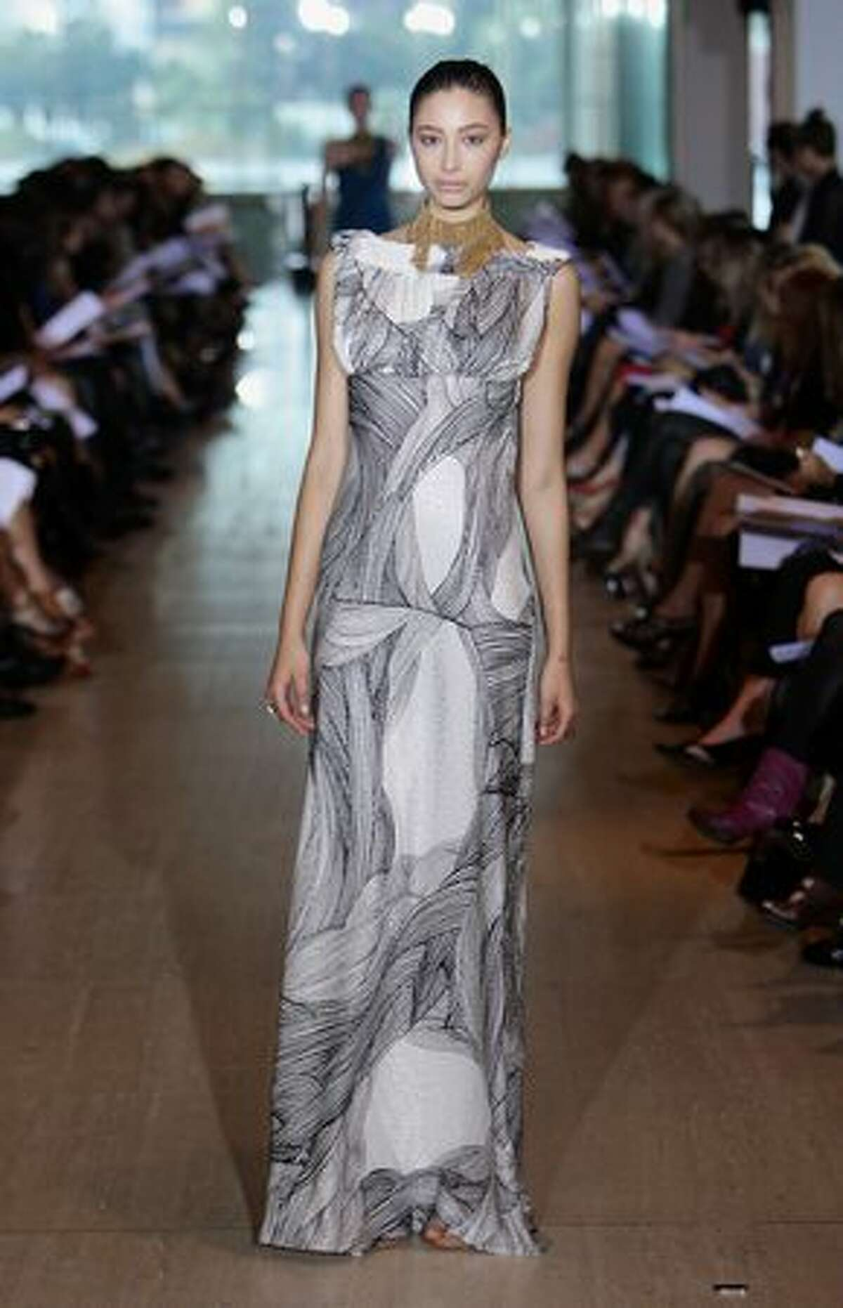 A model showcases a design by Lisa Ho.