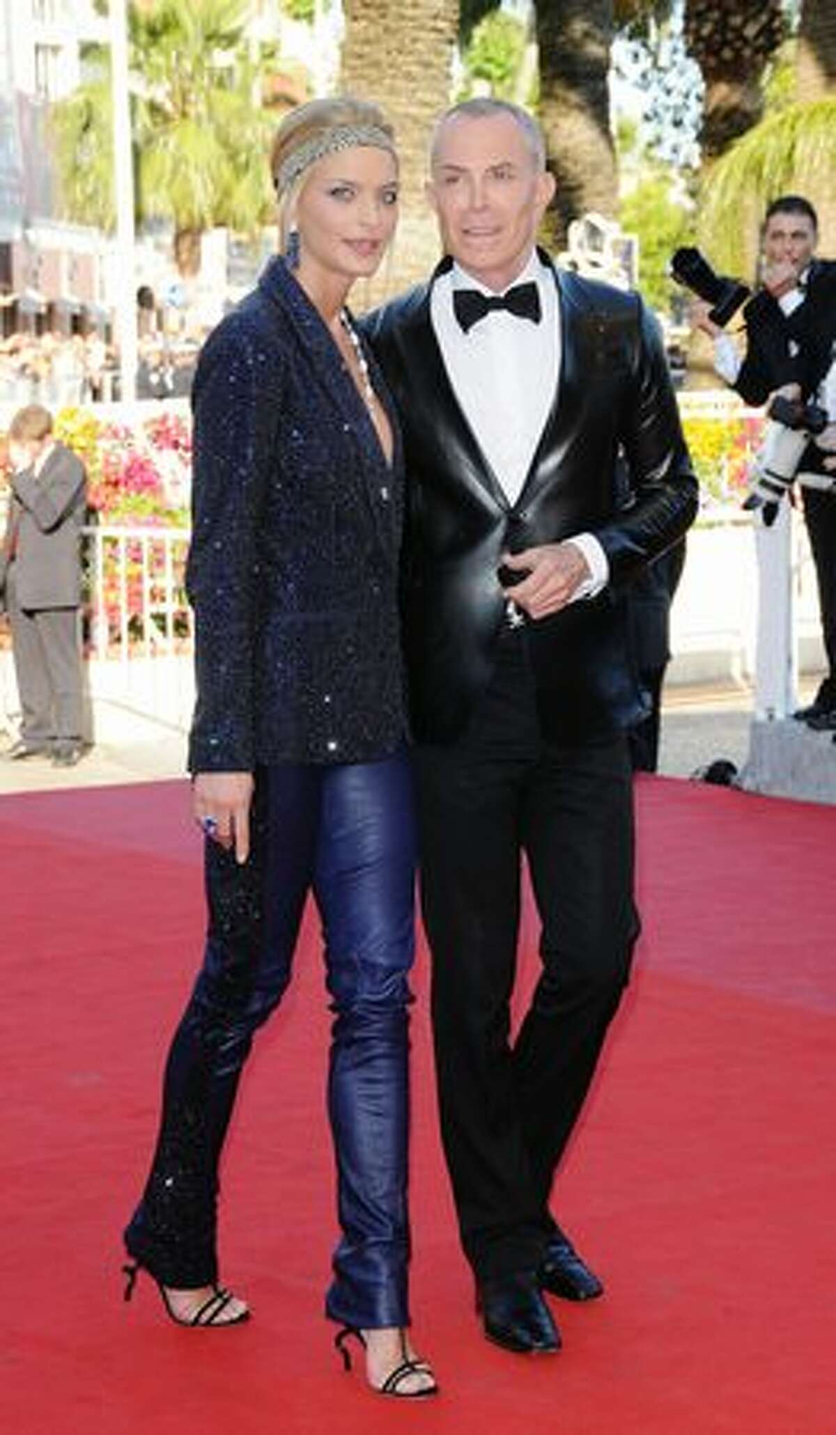 Designer Jean-Claude Jitrois (R) and Sarah Marshall attend the A Prophet Premiere held at the Palais Des Festivals.
