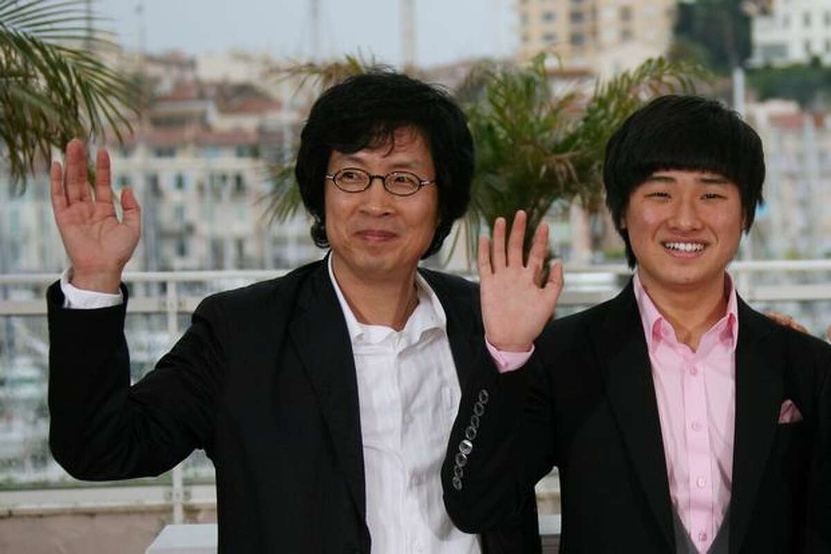 South Korean actor Lee David (R) and South Korean actor Lee Joondong pose during the photocall of