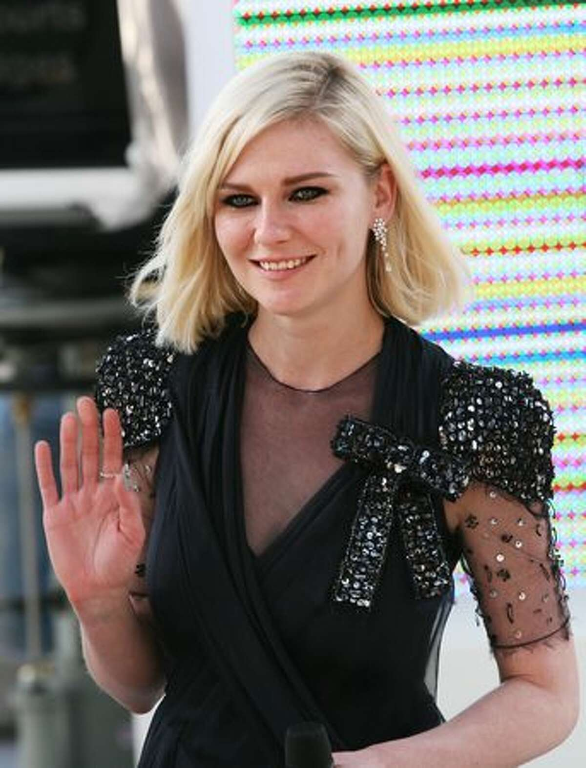 """US actress Kirsten Dunst attends the Canal+ TV show """"Le Grand Journal"""" during the 63rd Cannes Film Festival on May 20, 2010 in Cannes."""