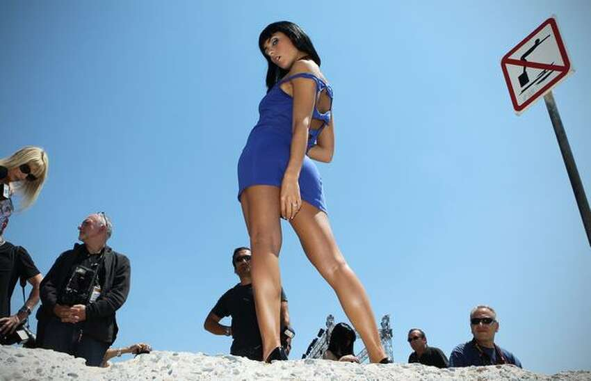 French porn star Jade Laroche poses during a Marc Dorcel's production photocall on the sidelines of the 63rd Cannes Film Festival on May 22, 2010 in Cannes.
