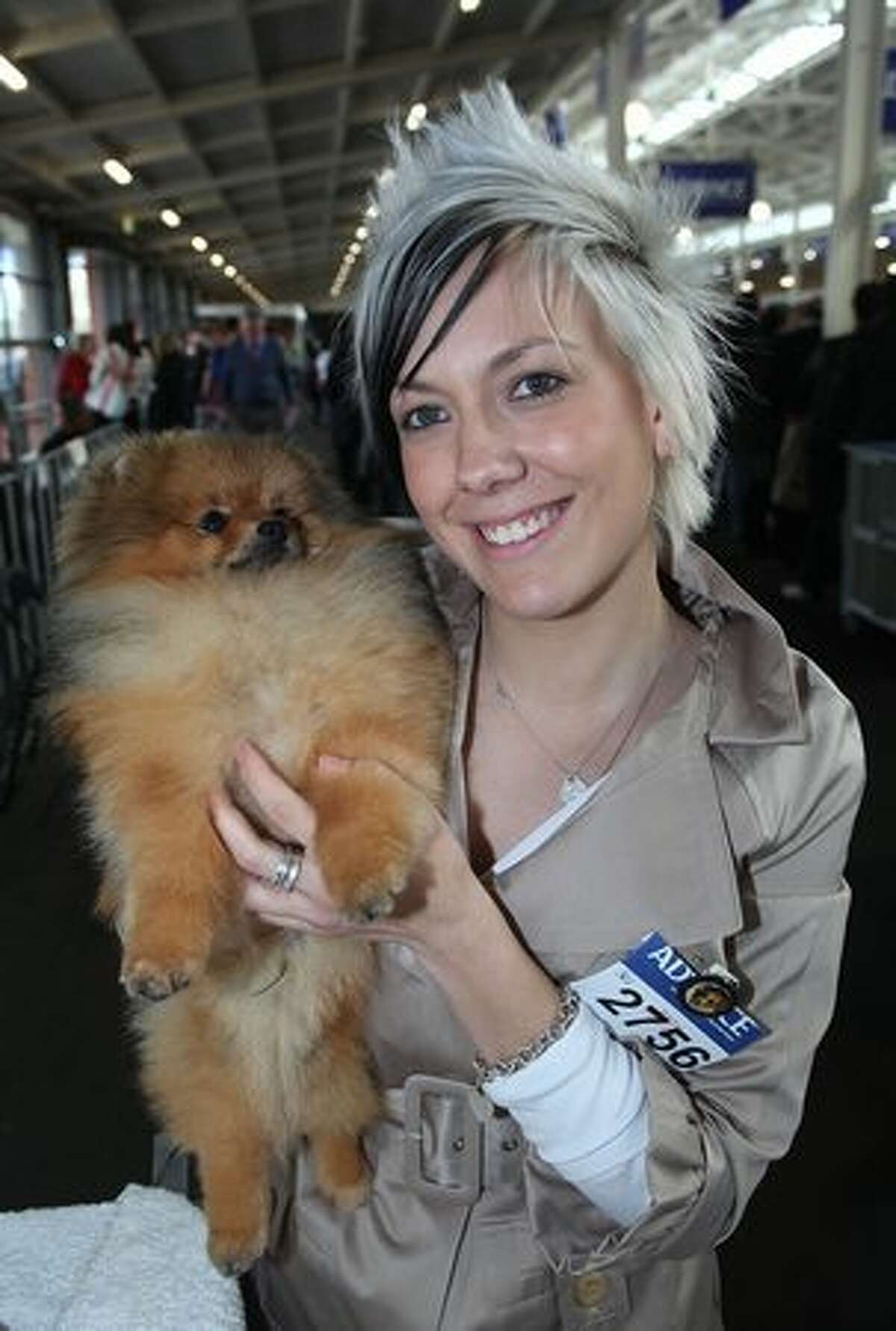 A woman poses with her dog at the Royal Melbourne Show on September 18, 2010 in Melbourne, Australia.