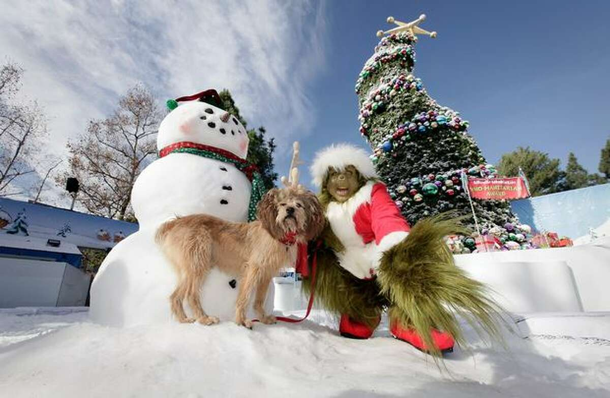 """The Grinch poses with Max the Dog as Universal Studios kicks off """"18 Days of Grinchmas"""" on December 9, 2010 in Universal City, California."""