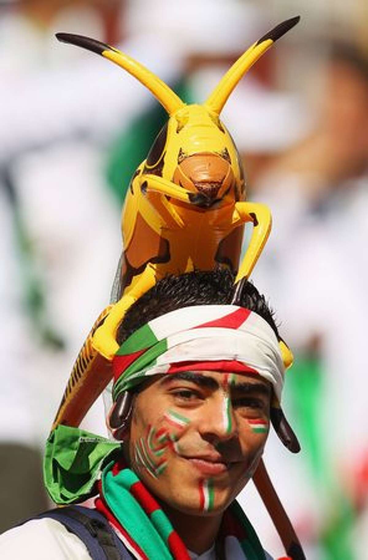 An Algeria fan arrives for the 2010 FIFA World Cup South Africa Group C match between Algeria and Slovenia.