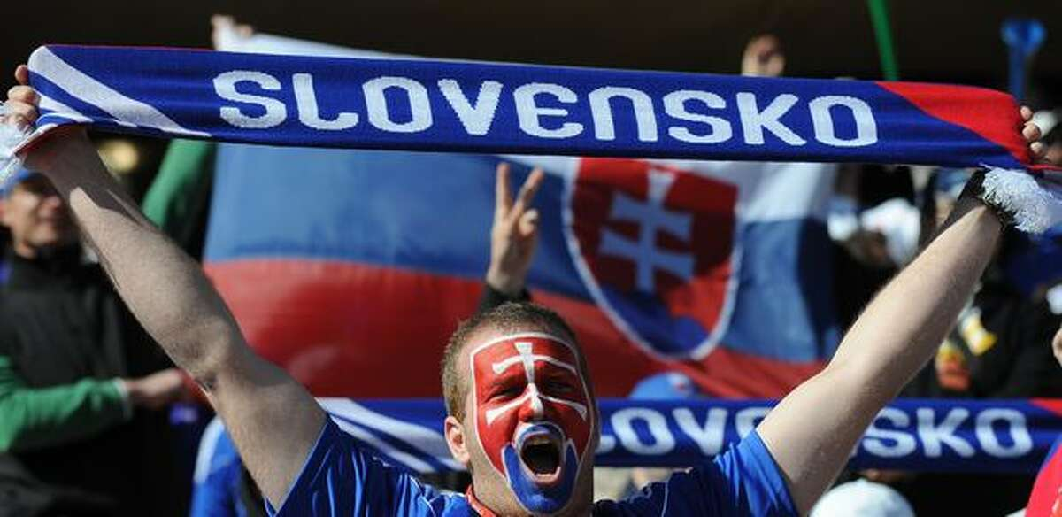 A Slovakia fan cheers before the Group F first round 2010 World Cup football match Slovakia versus New Zealand at Royal Bafokeng Stadium.