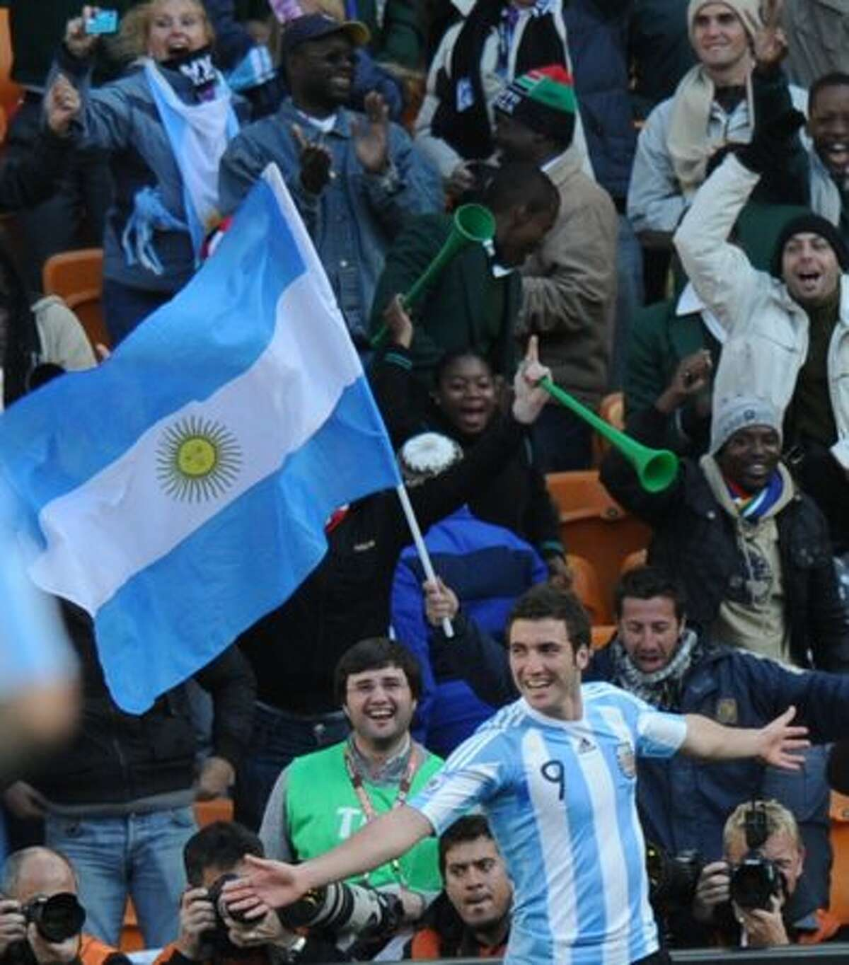 Argentina's striker Gonzalo Higuain celebrates after scoring his third goal of the match during their Group B first round 2010 World Cup football match on June 17, 2010 at Soccer City stadium in Soweto, suburban Johannesburg.
