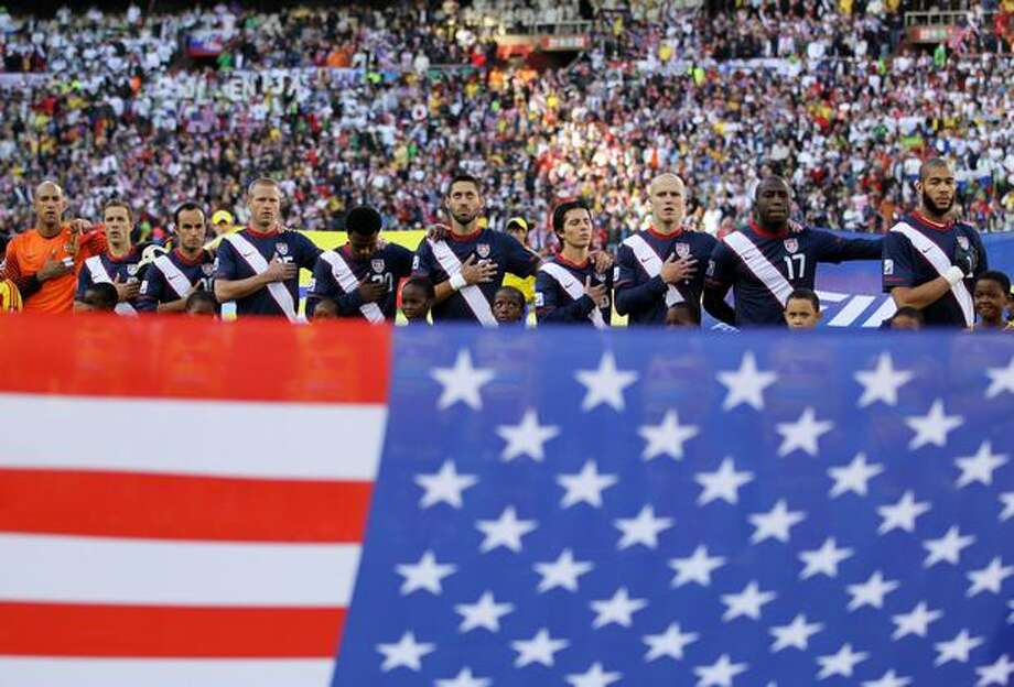 The United States team line up and sing their national anthem ahead of the 2010 FIFA World Cup South Africa Group C match between Slovenia and USA at Ellis Park Stadium on June 18, 2010 in Johannesburg, South Africa. Photo: Getty Images / Getty Images