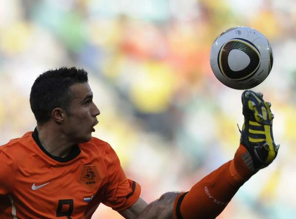 Netherlands' striker Robin van Persie kicks the ball during their Group E first round 2010 World Cup football match on June 19, 2010 at Moses Mabhida stadium in Durban.