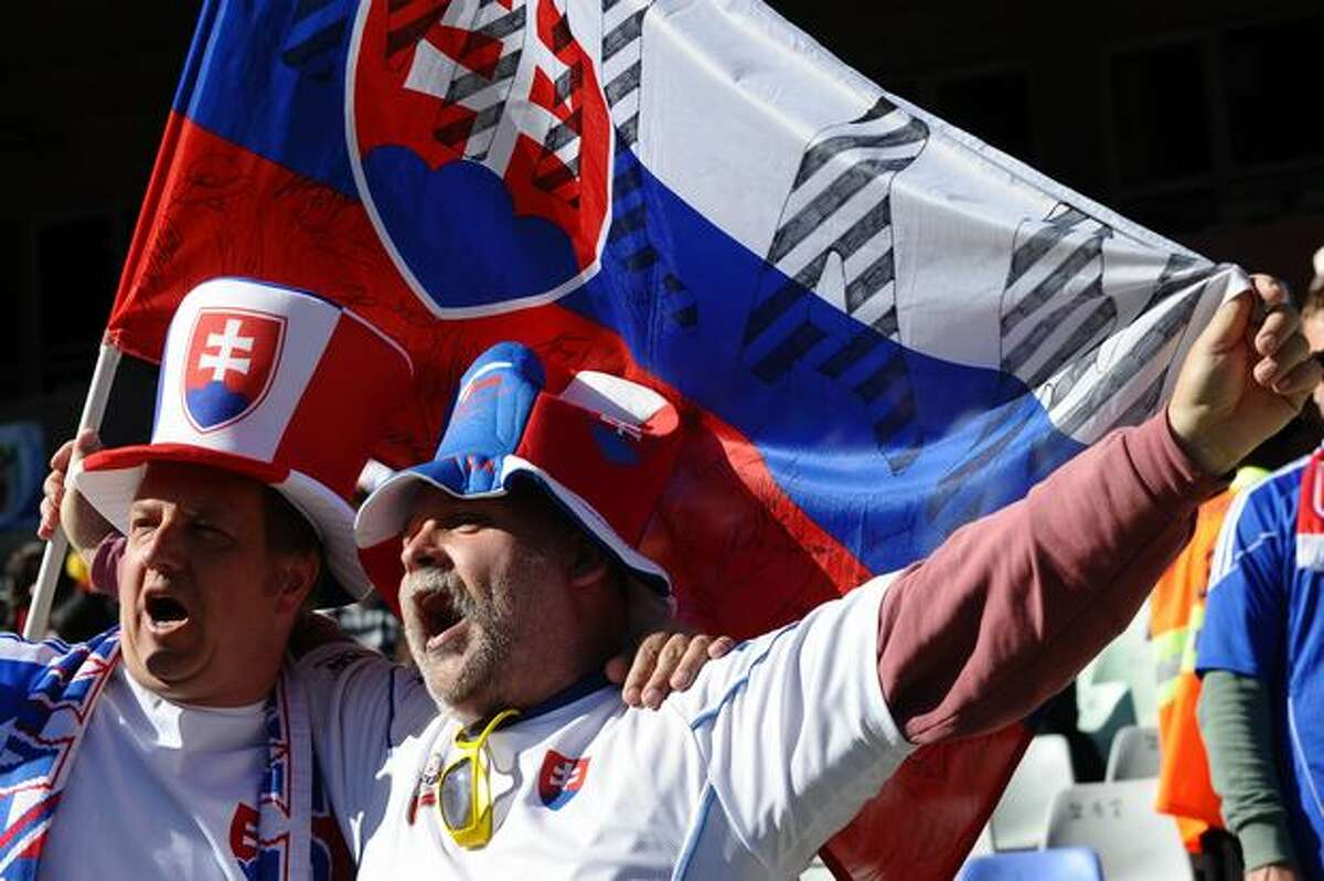 Slovakia fans wave a flag before the Group F first round 2010 World Cup football match Slovakia versus Paraguay on June 20, 2010 at Free State Stadium in Mangaung/Bloemfontein.