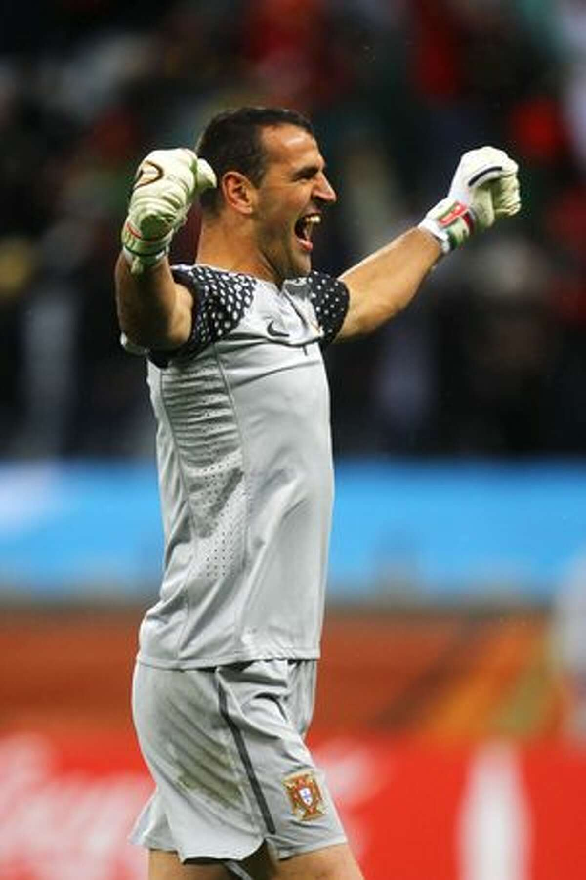 Eduardo of Portugal celebrates his team going ahead during the World Cup Group G match between Portugal and North Korea at the Green Point Stadium on Monday in Cape Town, South Africa.