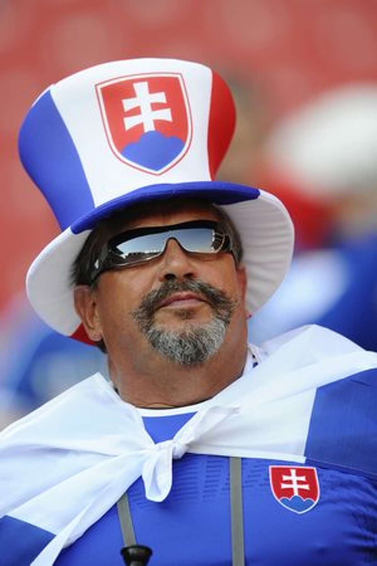 A Slovak supporter cheers prior to their Group F first round 2010 World Cup football match on June 24, 2010 at Ellis Park stadium in Johannesburg.