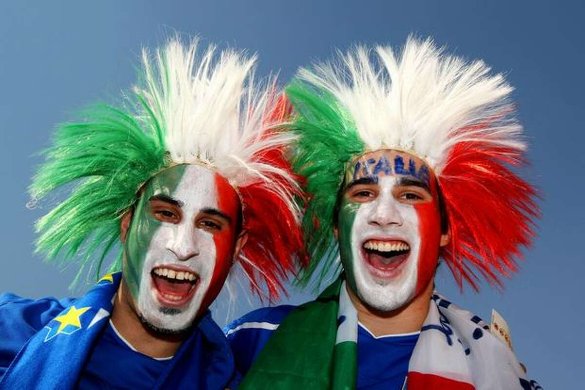 Italy fans enjoy the atmosphere prior to the 2010 FIFA World Cup South Africa Group F match between Slovakia and Italy at Ellis Park Stadium on June 24, 2010 in Johannesburg, South Africa.