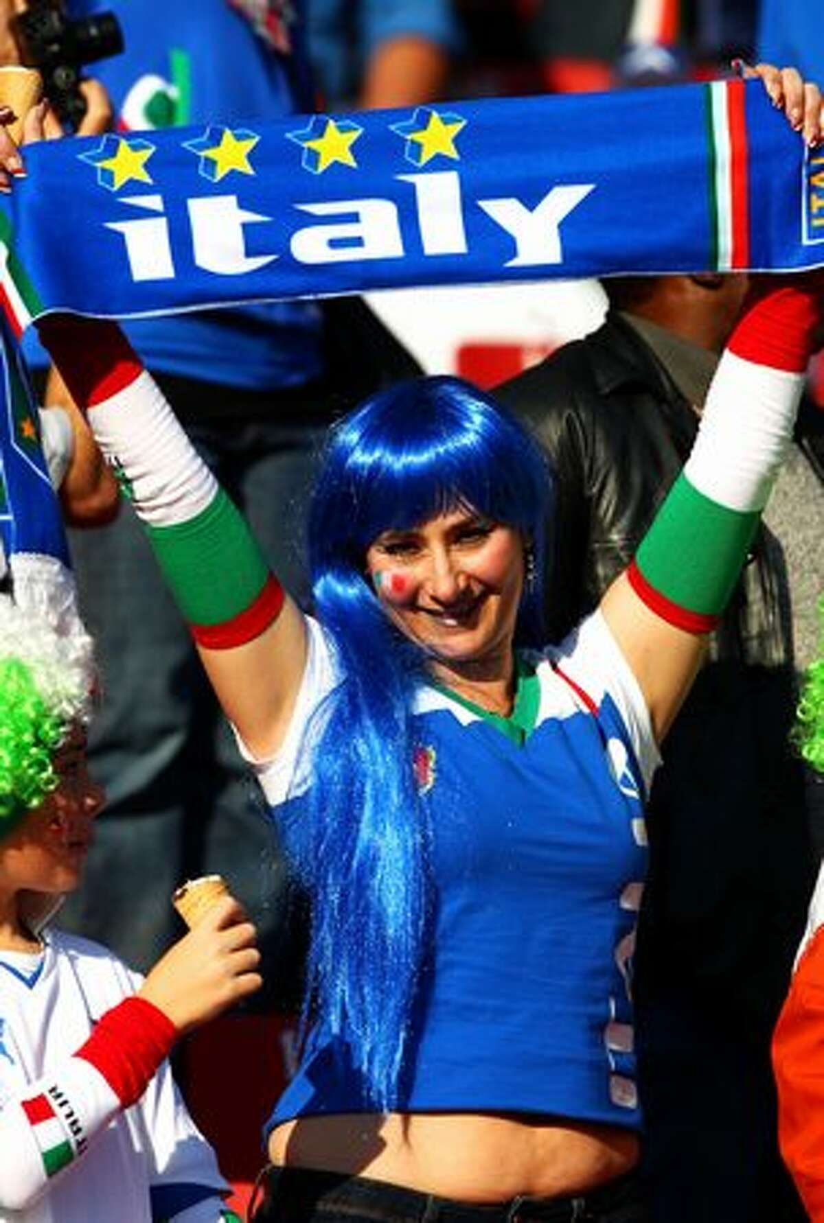 An Italy fan enjoys the atmosphere prior to the 2010 FIFA World Cup South Africa Group F match between Slovakia and Italy at Ellis Park Stadium on June 24, 2010 in Johannesburg, South Africa.
