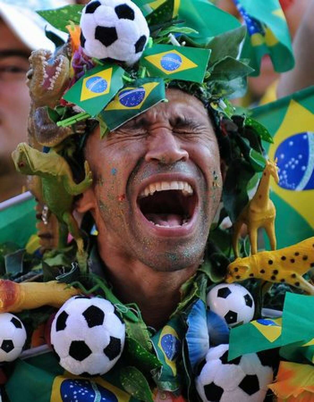 A Brazilian fan celebrates the first goal of the team as he watches the FIFA World Cup South Africa 2010 football match between Brazil and Chile in Copacabana Beach, in Rio de Janeiro, Brazil.