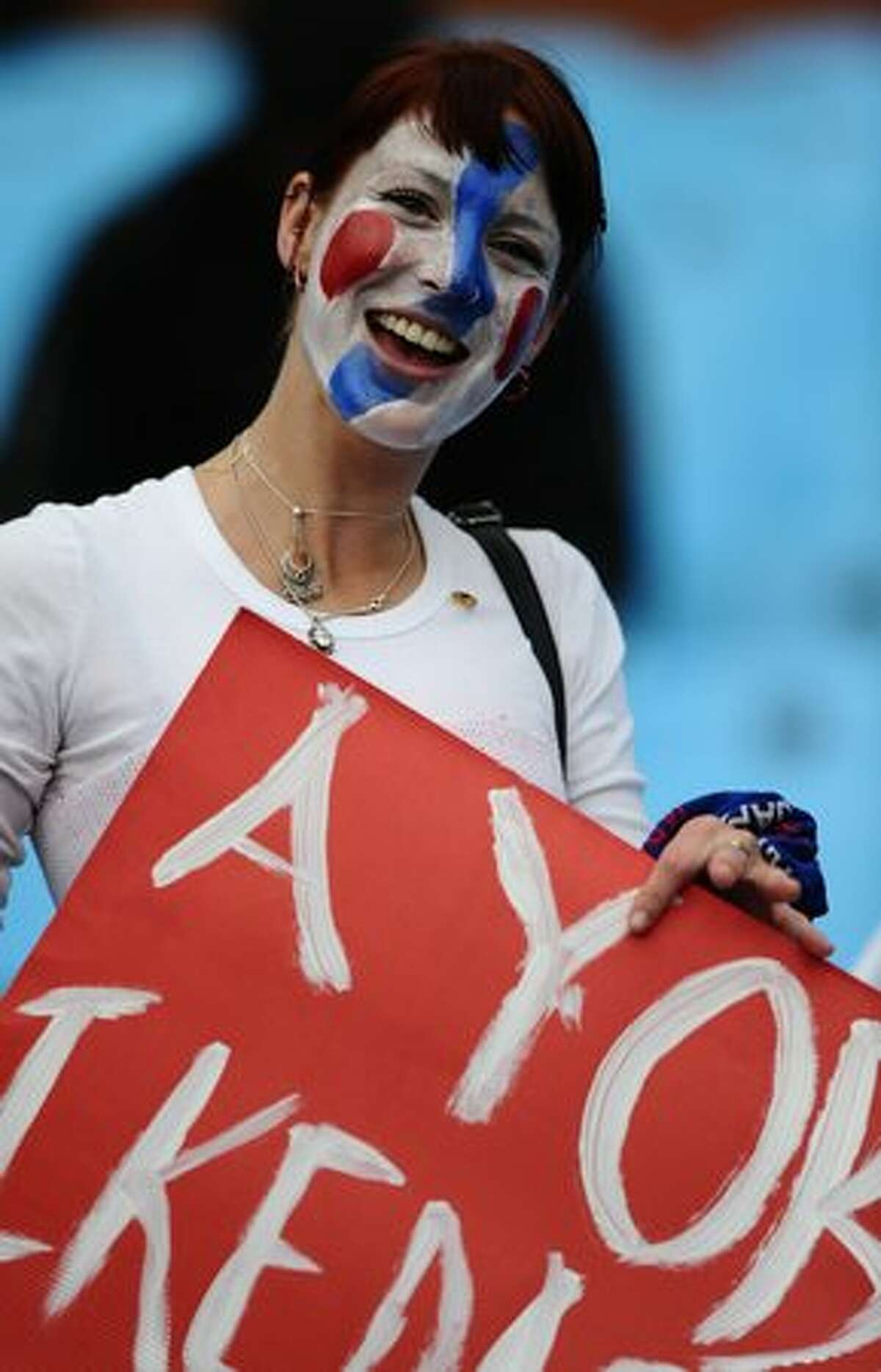 A Japan fan smiles before the 2010 World Cup round of 16 match Paraguay versus Japan on June 29, 2010 at Loftus Versfeld Stadium in Pretoria.