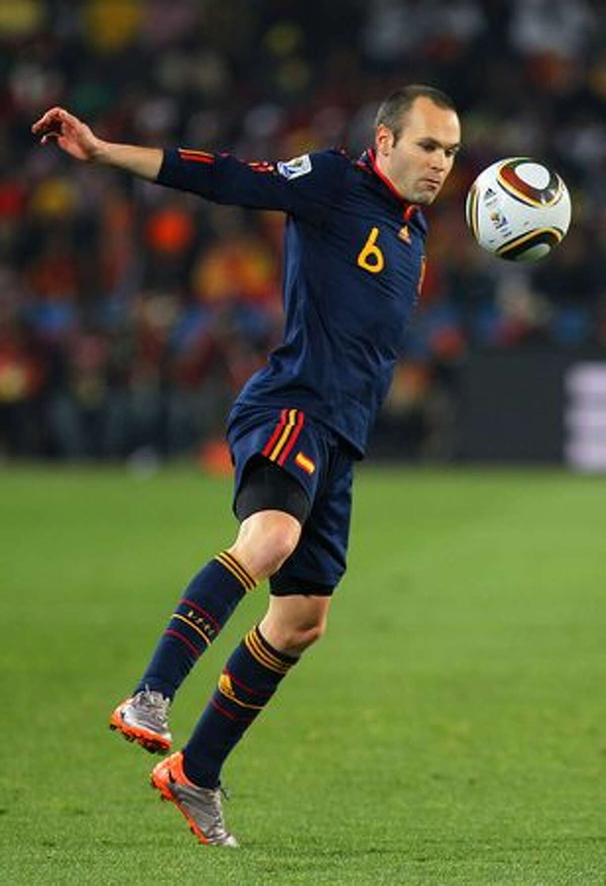 Andres Iniesta of Spain controls the ball during the 2010 FIFA World Cup South Africa Quarter Final match between Paraguay and Spain at Ellis Park Stadium on July 3, 2010 in Johannesburg, South Africa.