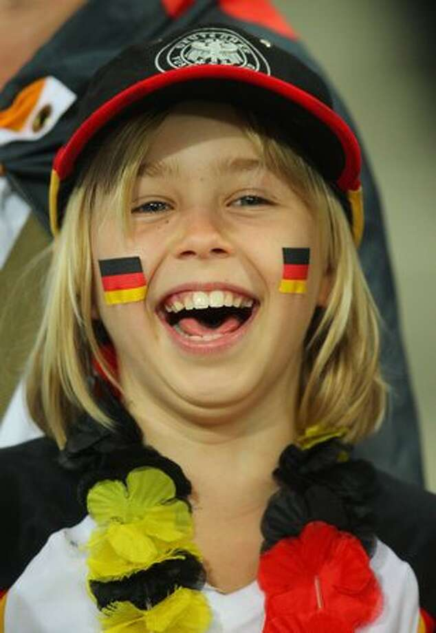 A Germany fan enjoys the atmosphere prior to the 2010 FIFA World Cup South Africa Semi Final match between Germany and Spain at Durban Stadium on July 7, 2010 in Durban, South Africa. Photo: Getty Images / Getty Images