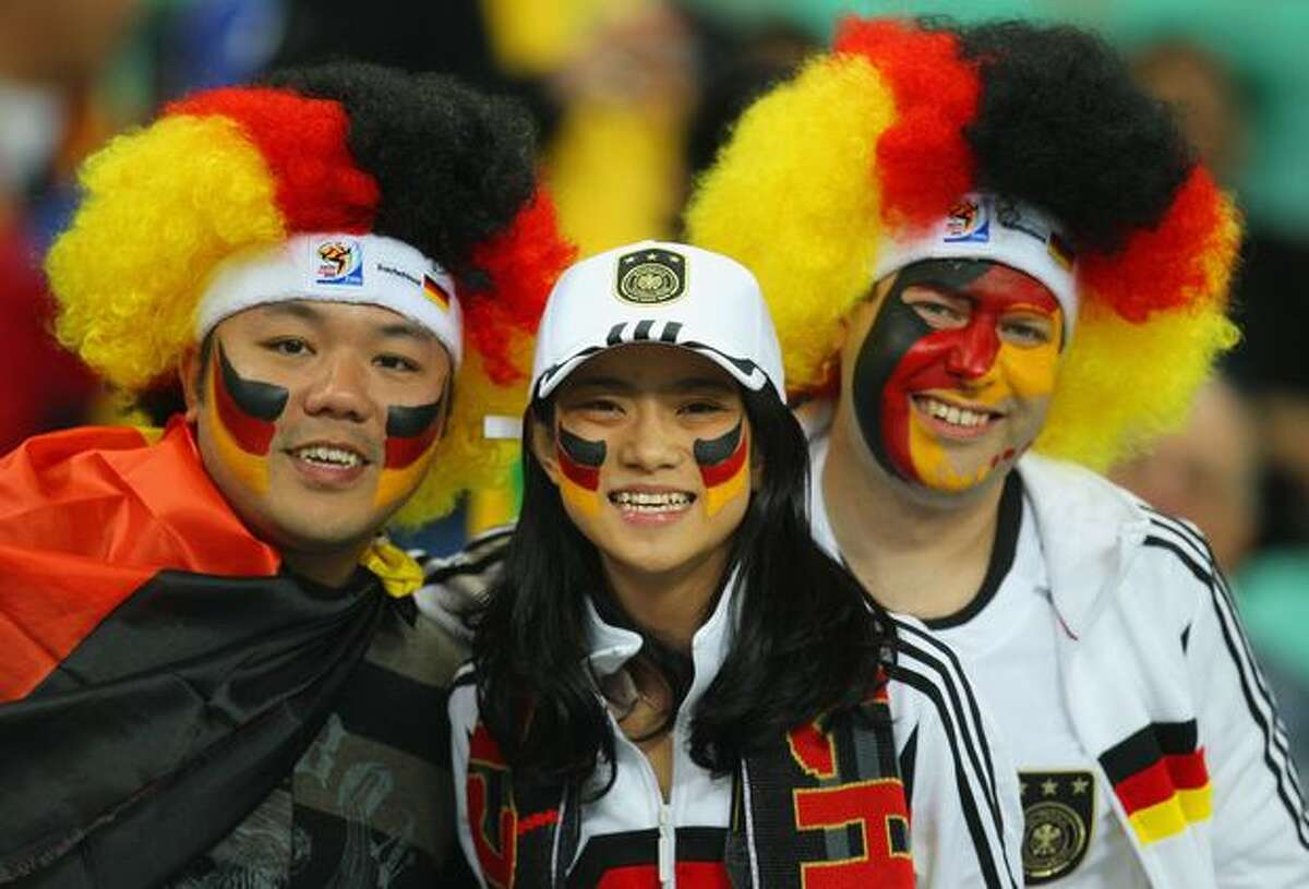 Germany fans enjoy the atmosphere prior to the 2010 FIFA World Cup South Africa Semi Final match between Germany and Spain at Durban Stadium on July 7, 2010 in Durban, South Africa.