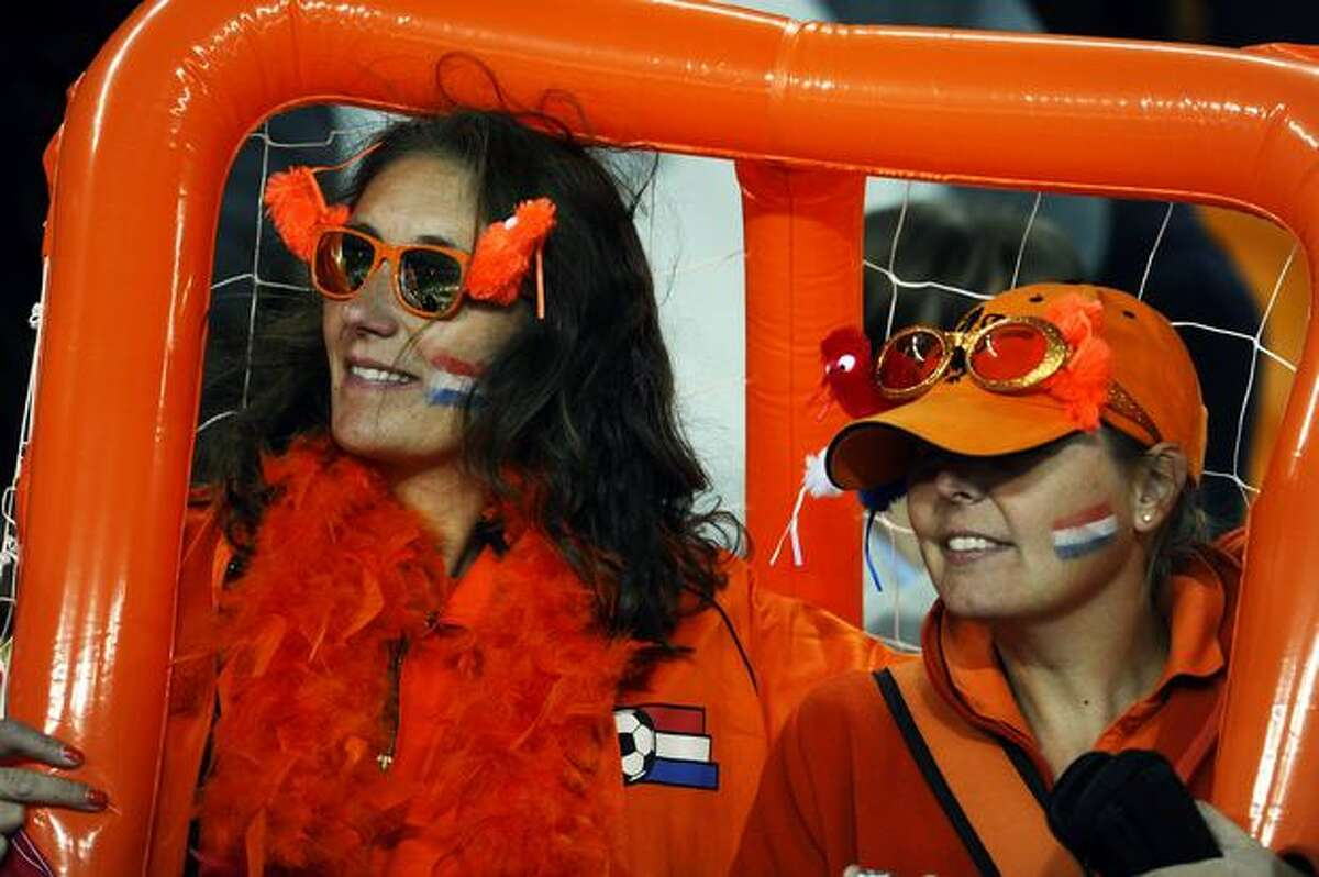 Netherlands supporters are pictured prior to the start of the match.