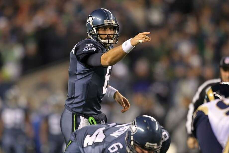 Quarterback Charlie Whitehurst #6 of the Seattle Seahawks signals during their game against the St. Louis Rams at Qwest Field in Seattle on Sunday, Jan. 2, 2011. Photo: Getty Images / Getty Images