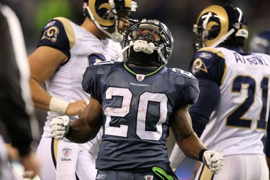 Running back Justin Forsett #20 of the Seattle Seahawks celebrates after a run against the St. Louis Rams. Photo: Getty Images / Getty Images