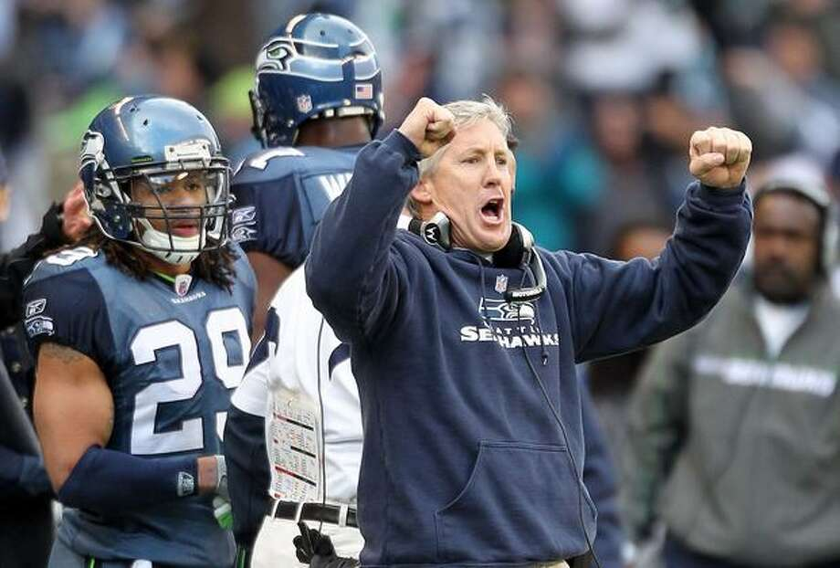 Head coach Pete Carroll of the Seattle Seahawks reacts in the second quarter against the New Orleans Saints during the 2011 NFC wild-card playoff game at Qwest Field on January 8, 2011 in Seattle, Washington. Photo: Getty Images / Getty Images