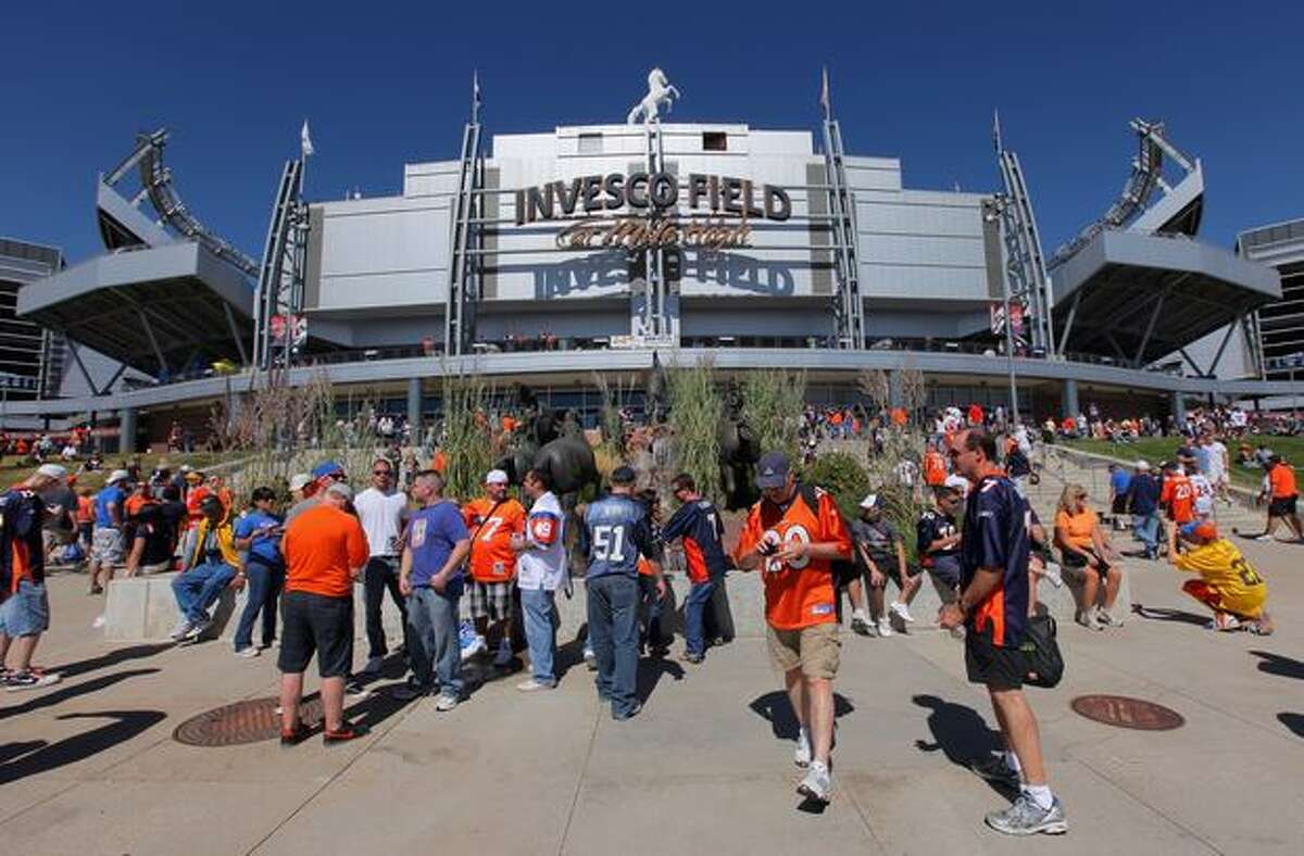Fans head for the gates as the Seattle Seahawks face the Denver Broncos at INVESCO Field at Mile High in Denver on Sunday, Sept. 19, 2010.