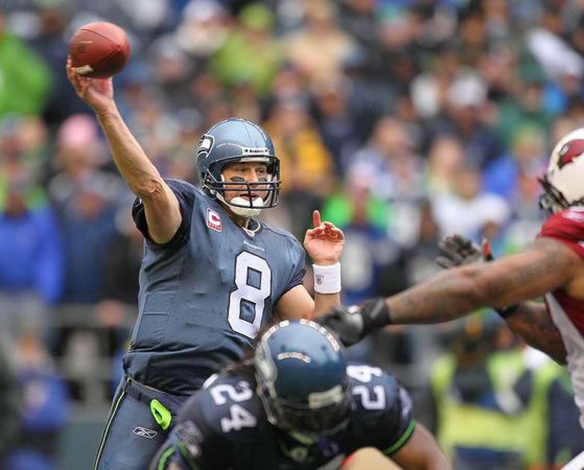 Quarterback Matt Hasselbeck #8 of the Seattle Seahawks passes against the Arizona Cardinals.